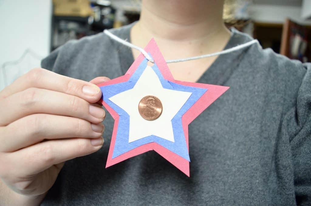 red white and blue star penny necklace craft