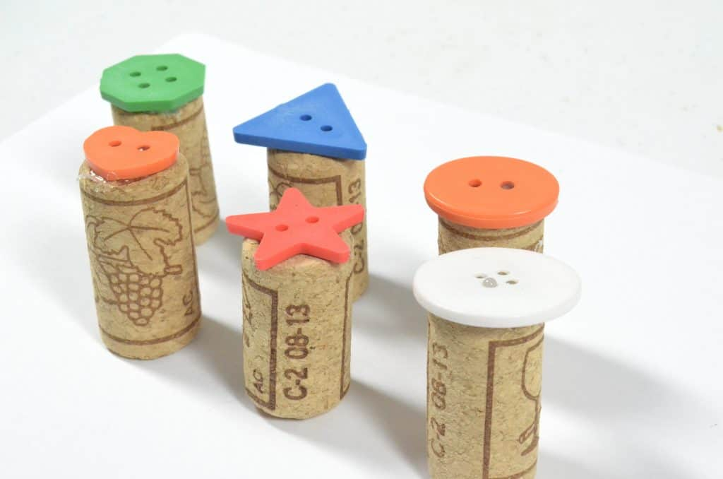 button and wine cork art stamps