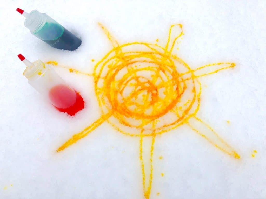 yellow sun snow paint art