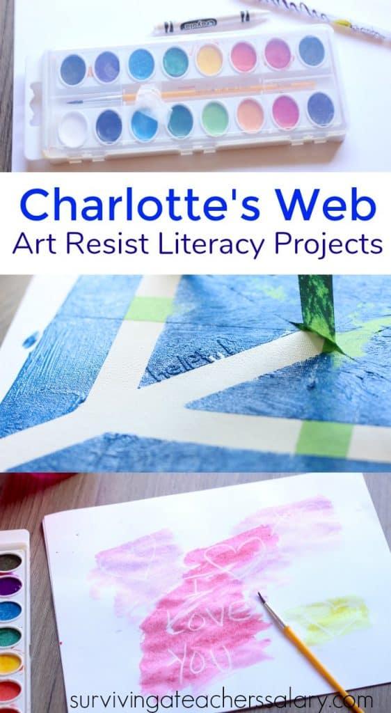 paint art resist spider web activity