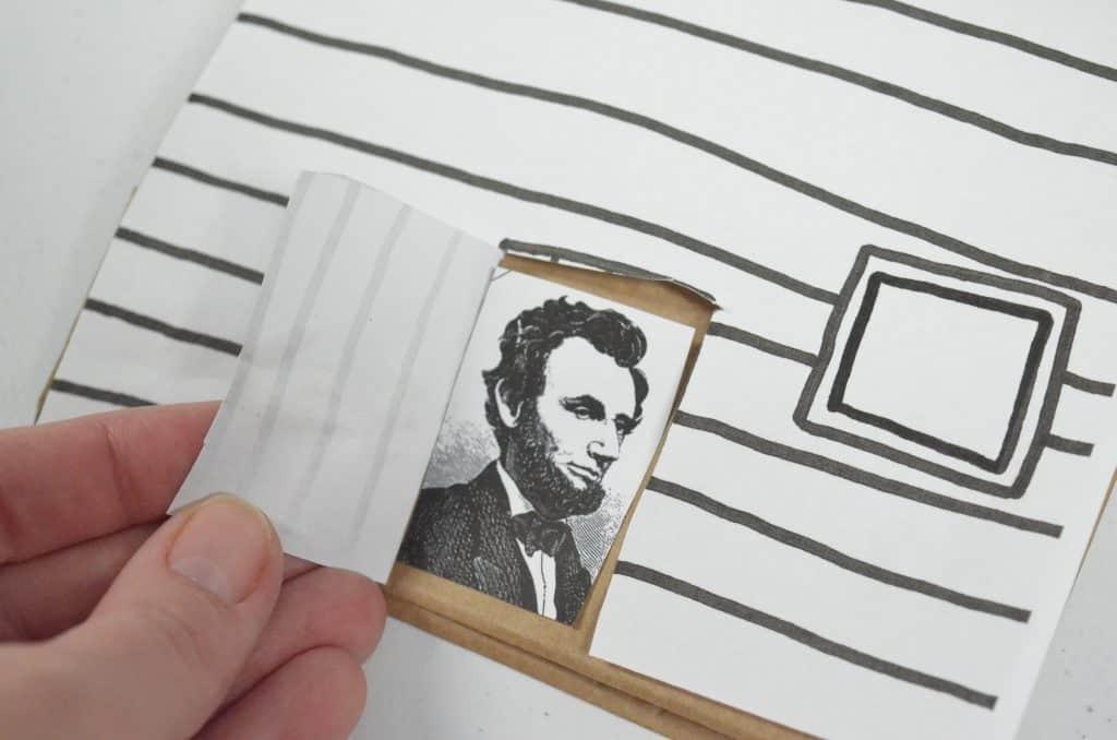 Abraham Lincoln head in doorway craft