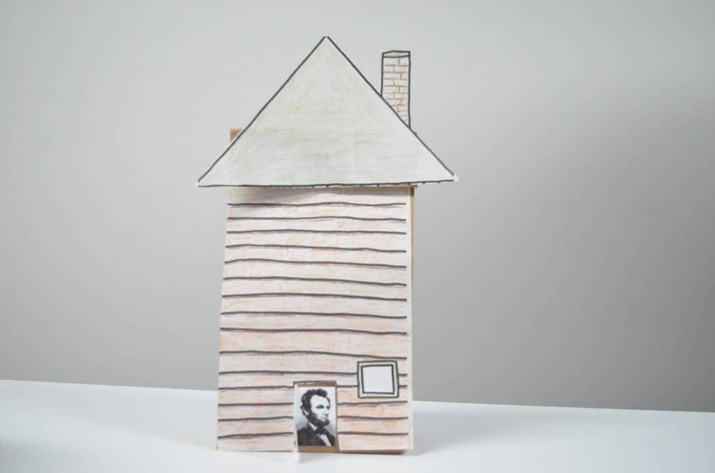 3D Lincoln Log Cabin paper bag craft