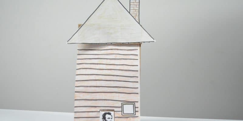 3D Lincoln Log Cabin paper bag craft