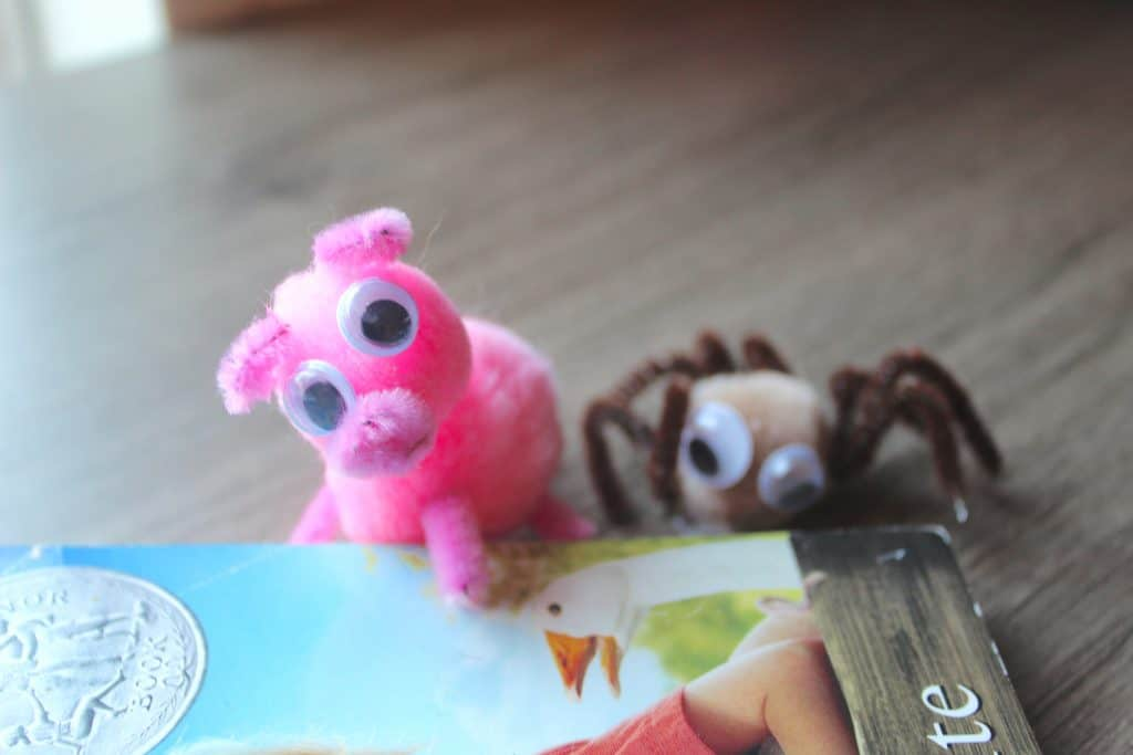 pig and spider pom pom pipe cleaner craft
