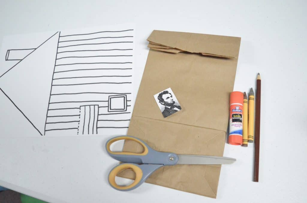 paper bag craft materials 3D Lincoln log cabin STEM activity