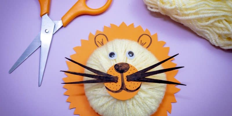 3d lion yarn craft for kids