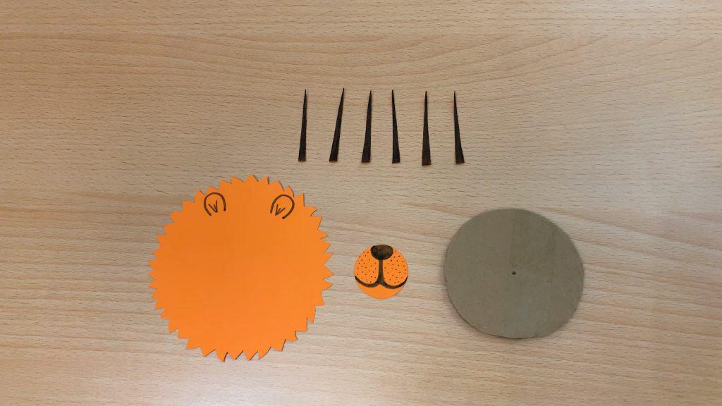 orange paper craft pieces for lion