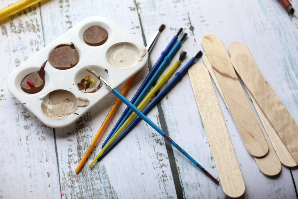 paint brushes and craft supplies