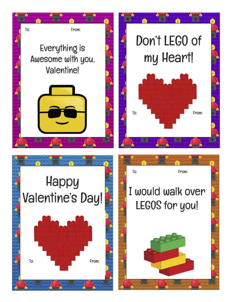 LEGO Valentine's Day printable cards