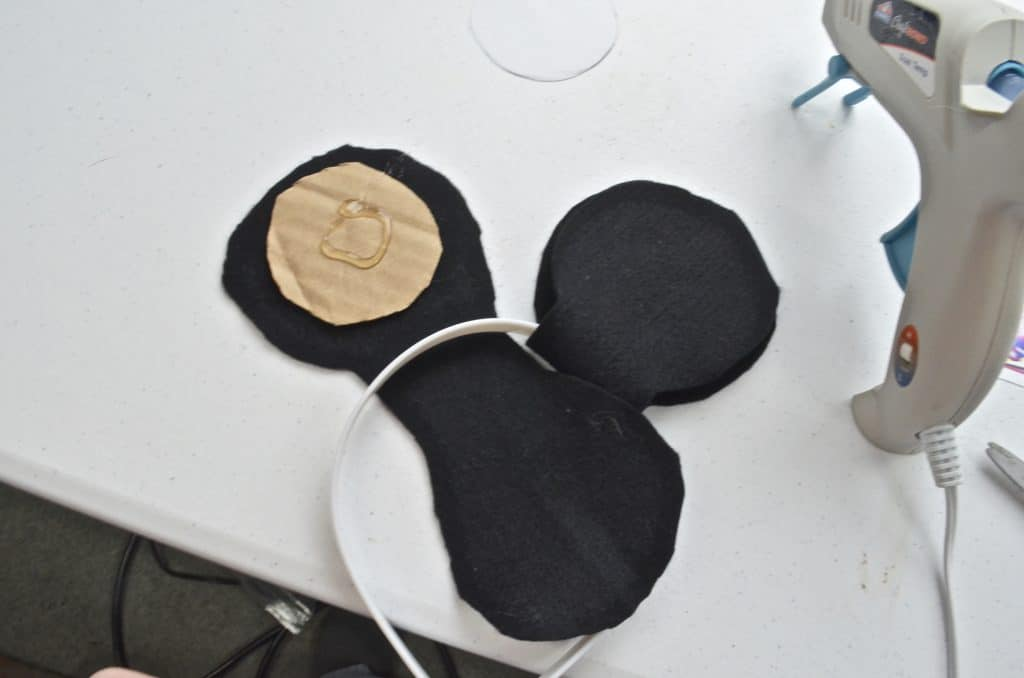 attaching mickey ears on headband