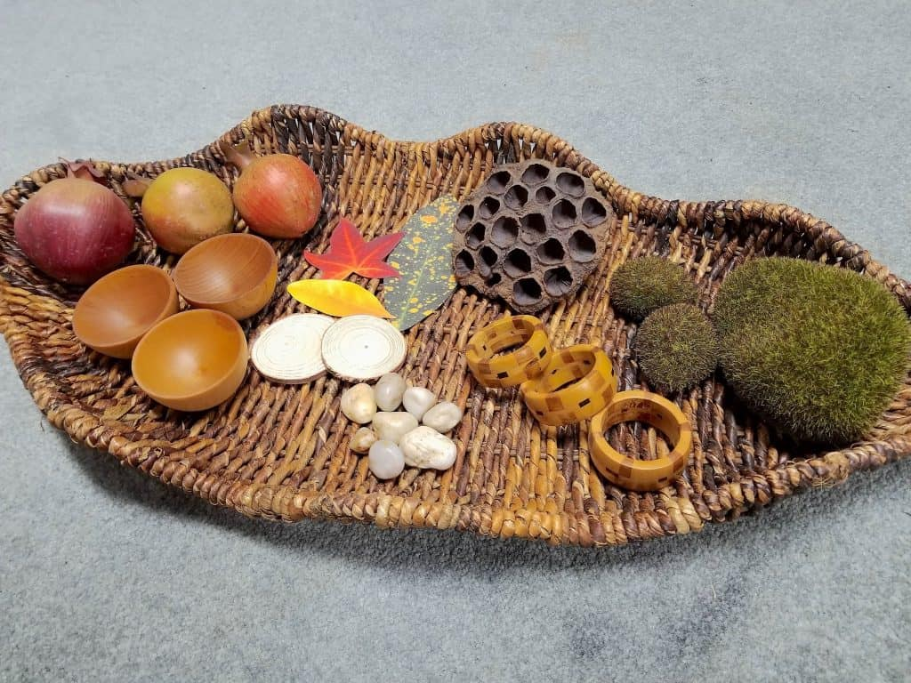 fall nature basket sensory bin leaf