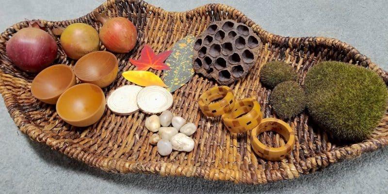 fall nature basket sensory bin leaf