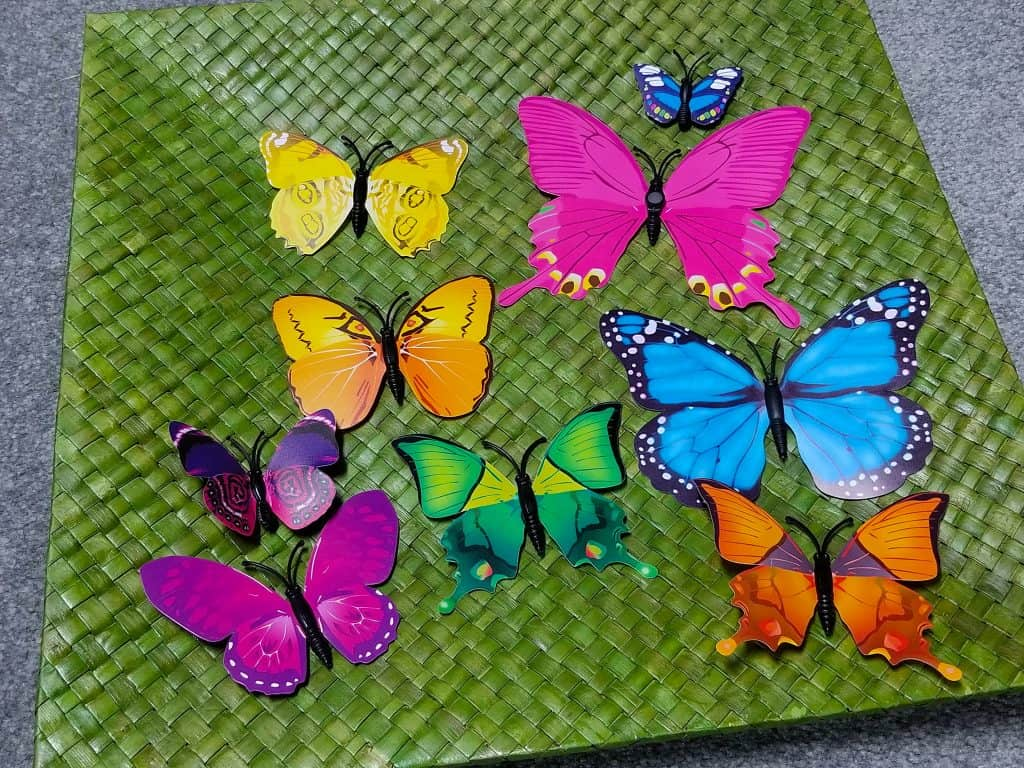 green basket weave butterflies sensory