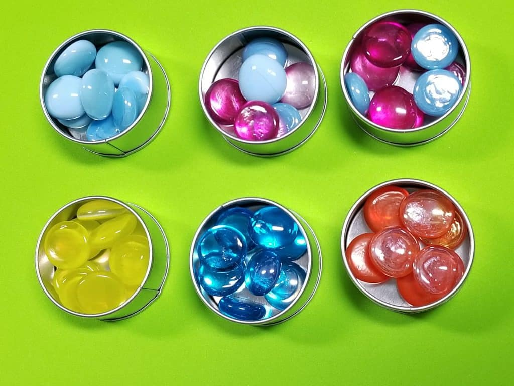colored glass beads sensory tins