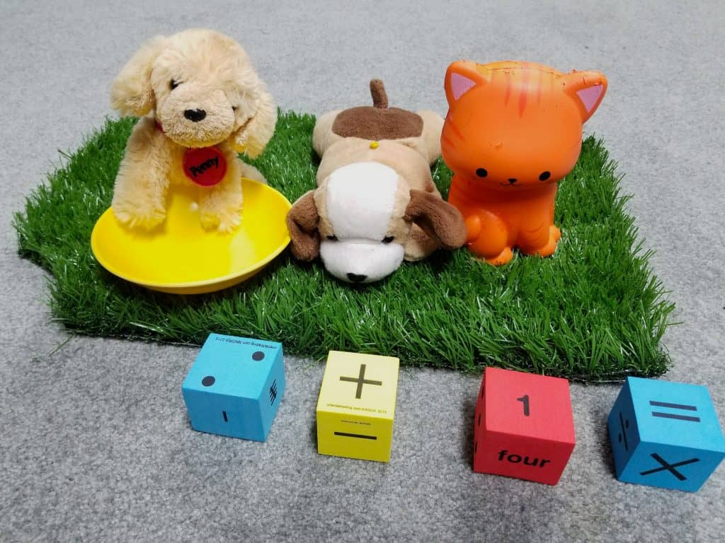 plush dogs and cat math learning center