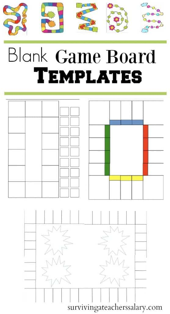 blank game board book report templates for math