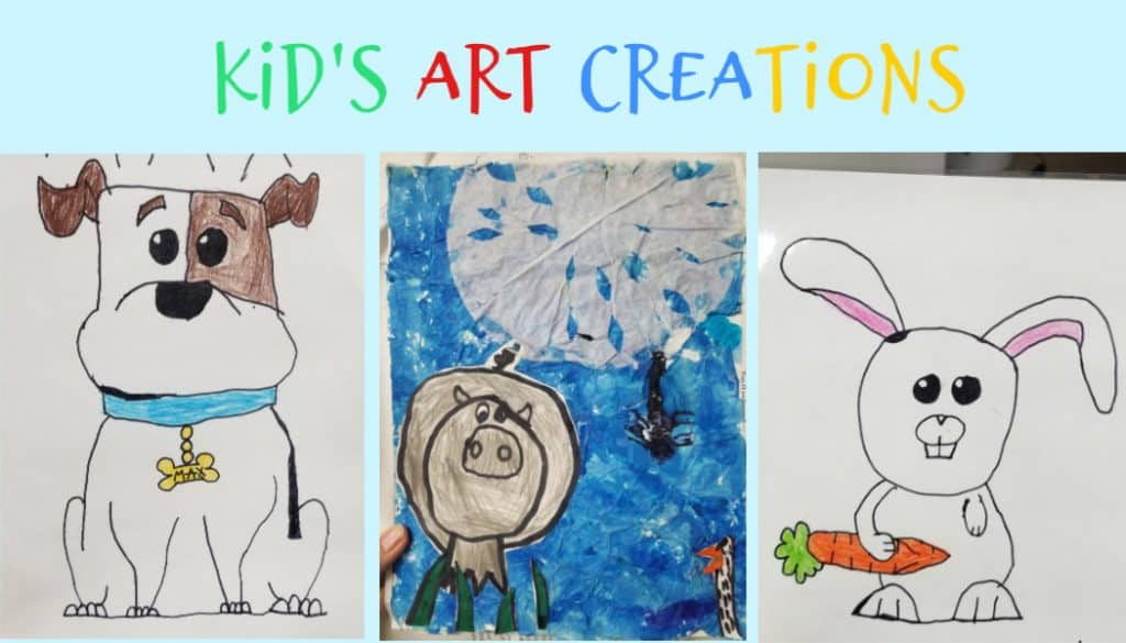 3 hand drawn art from kids