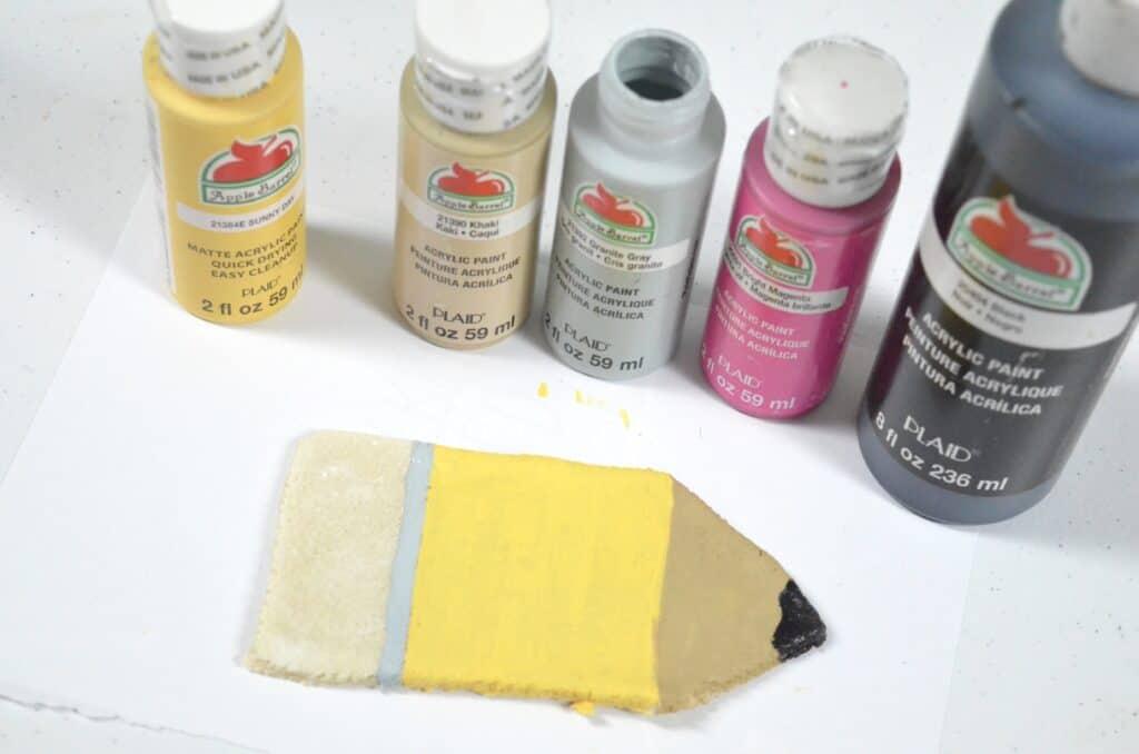 painting a pencil salt dough craft