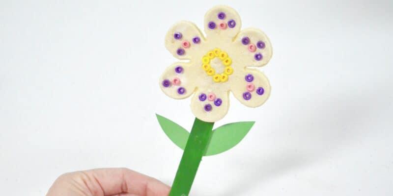 salt dough flower perler beads craft stick