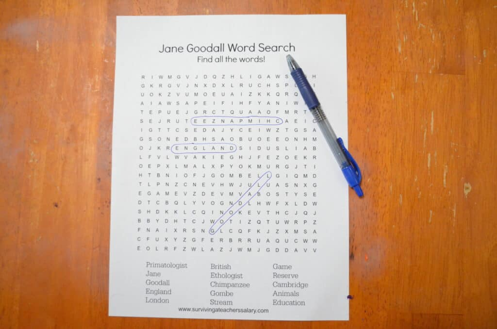 Jane Goodall science word search game