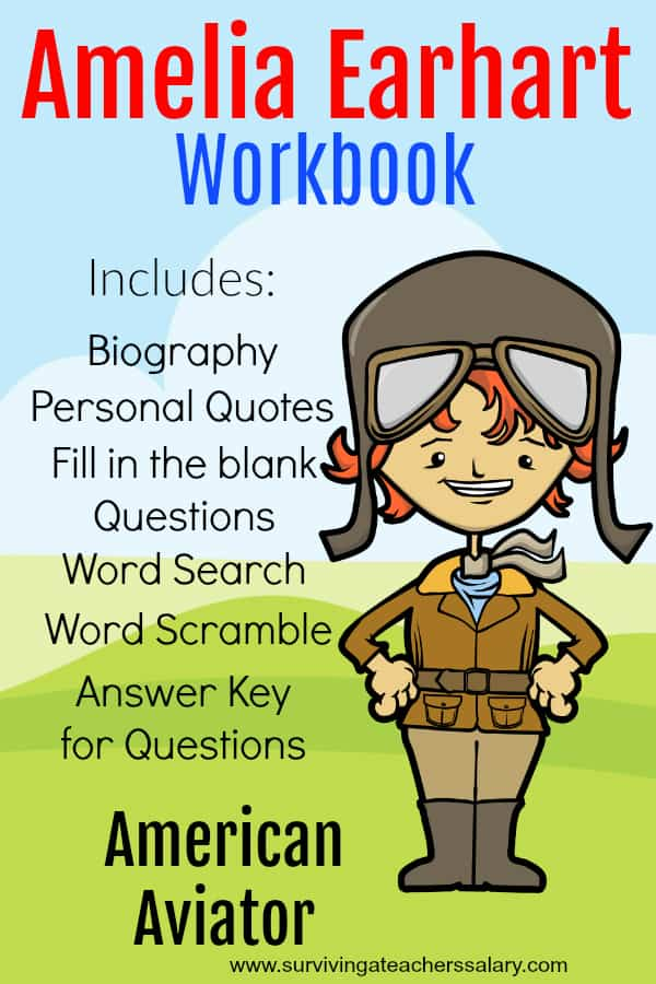 printable Amelia Earhart workbook