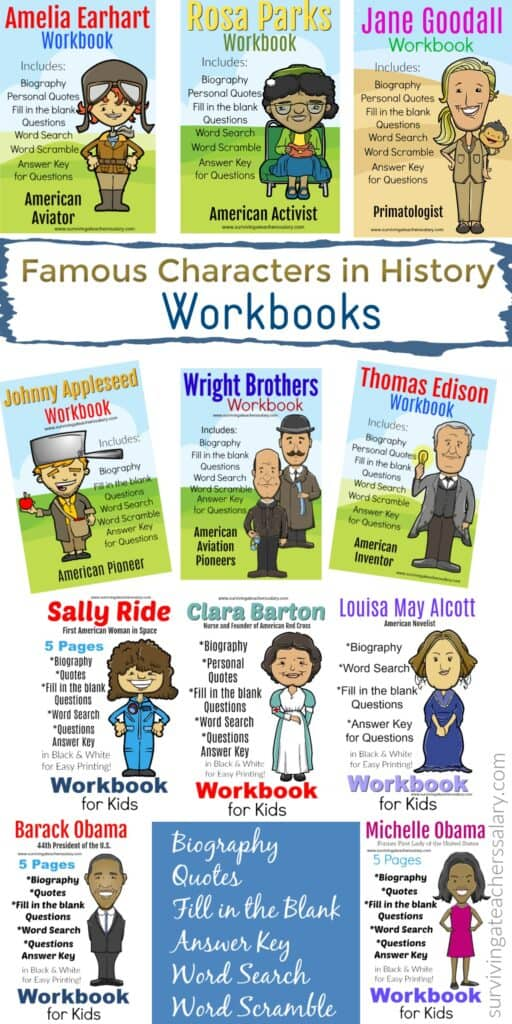Famous people in history Workbooks