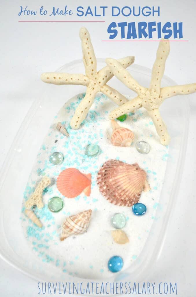 salt dough starfish beach sensory bin