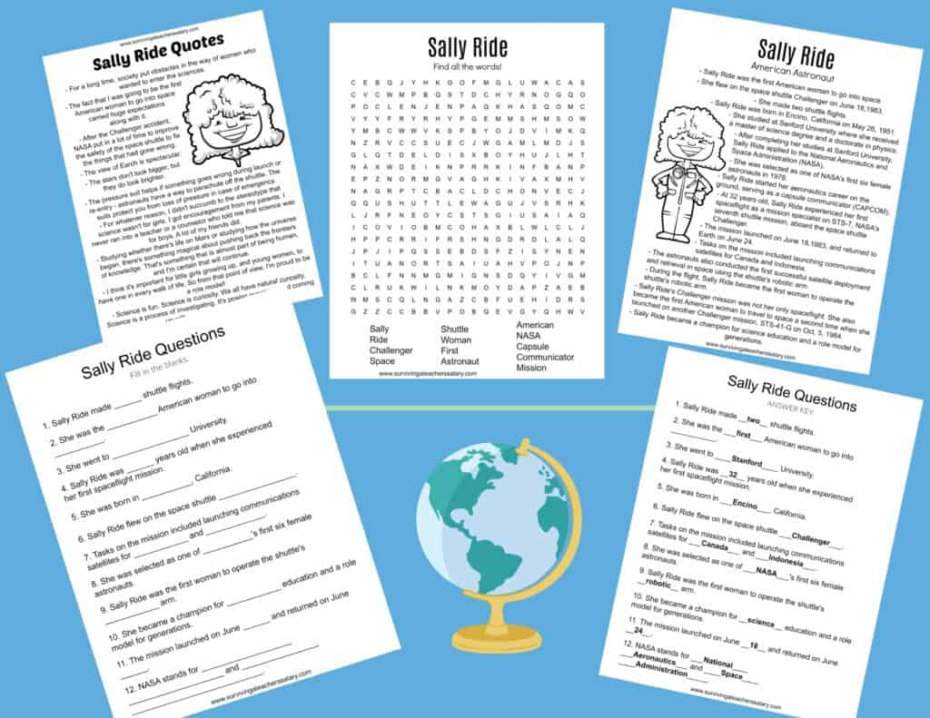 Sally Ride astronaut worksheets