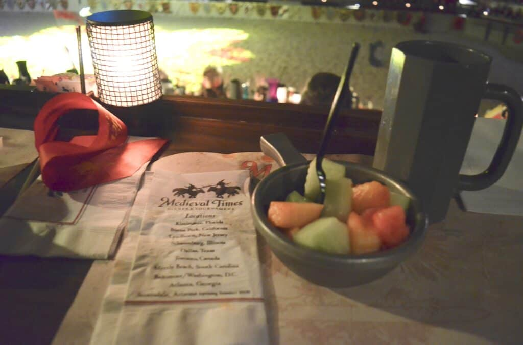 bowl of fruit at Medieval Times