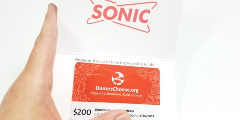 DonorsChoose gift card by SONIC