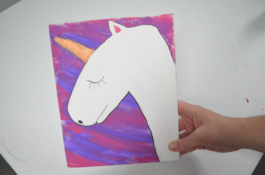 hand painted white unicorn on purple canvas