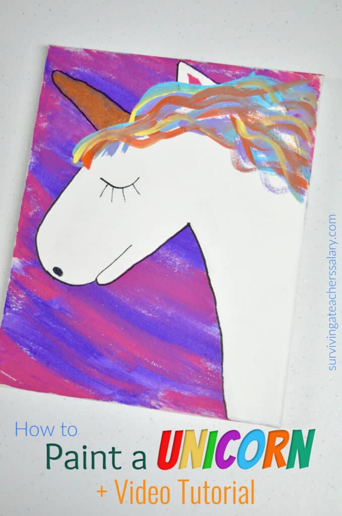 white unicorn colorful hair on pink purple canvas