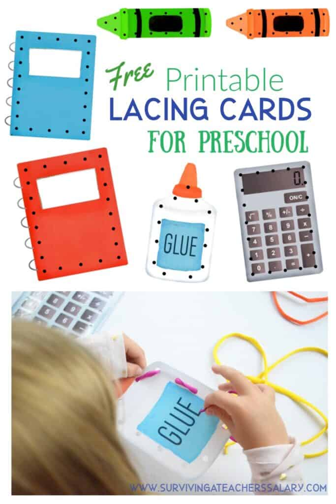 printable preschool lacing cards