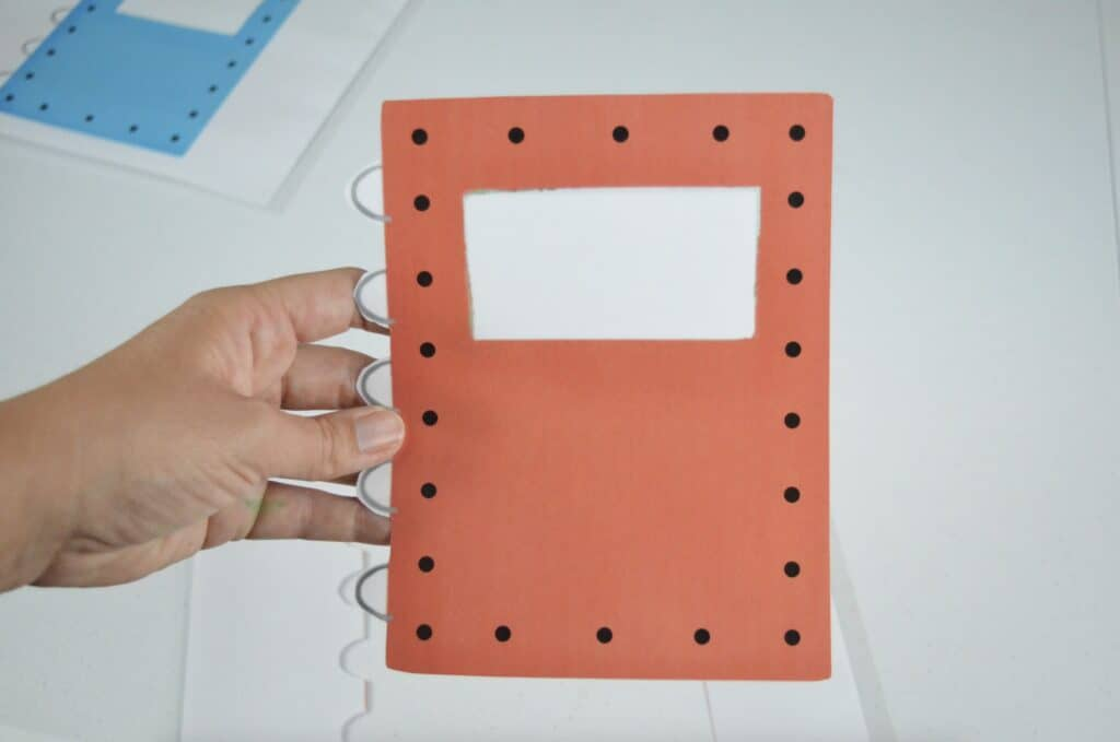 red notebook printable lacing card