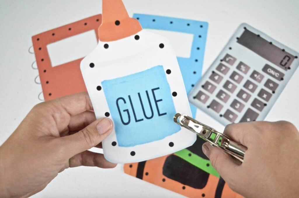 hole punch on printable glue lacing card