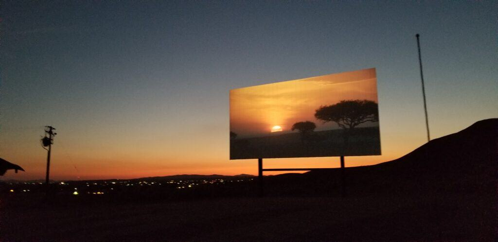 sunset at drive in movie theater