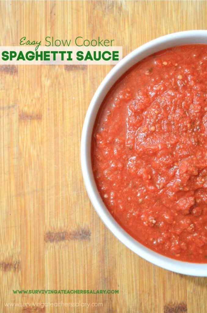 homemade spaghetti sauce in bowl on cutting board