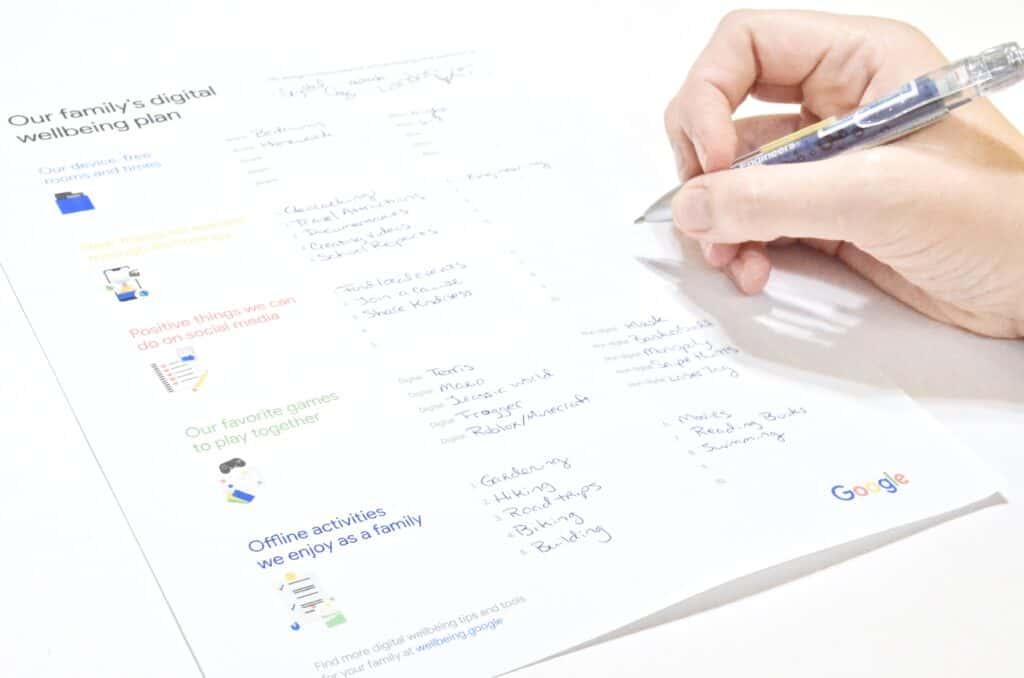 writing Google goals on digital wellbeing