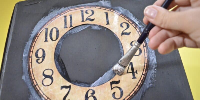 glueing on clock face
