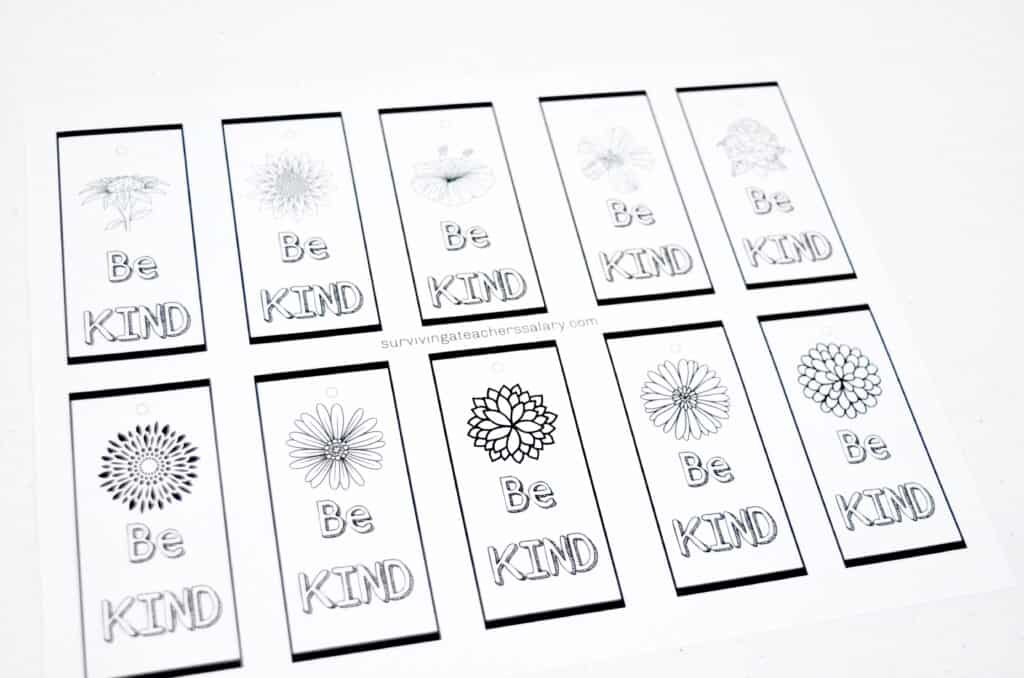 printable bookmarks be Kind inspirational message