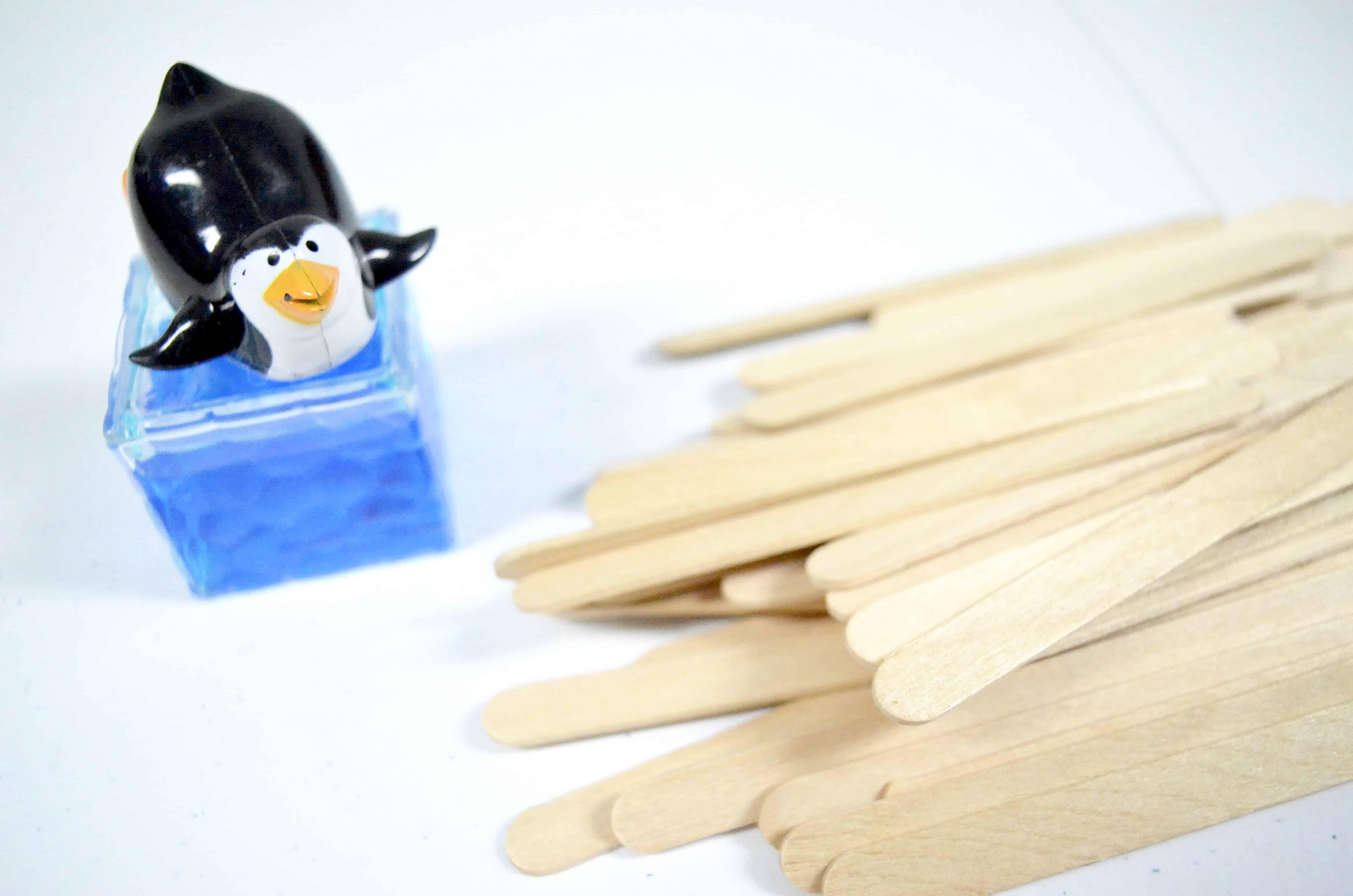 toy penguin craft sticks STEM activity