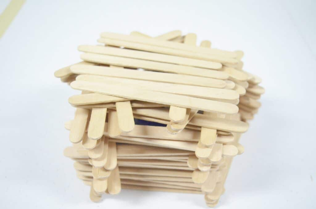 craft stick fort with roof