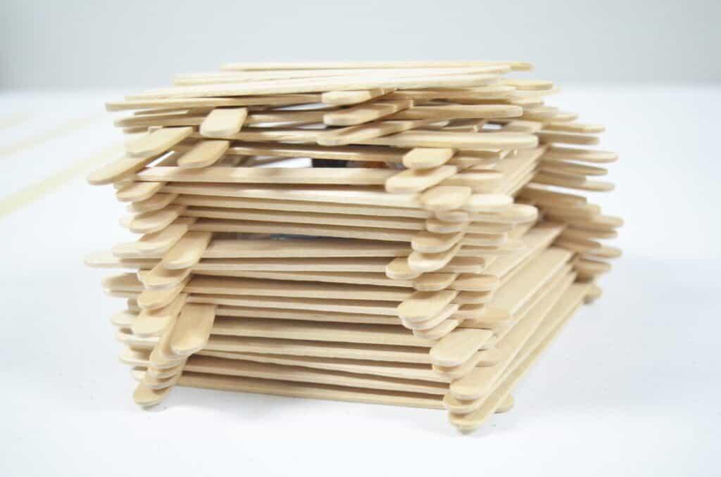 craft stick STEM activity build a fort