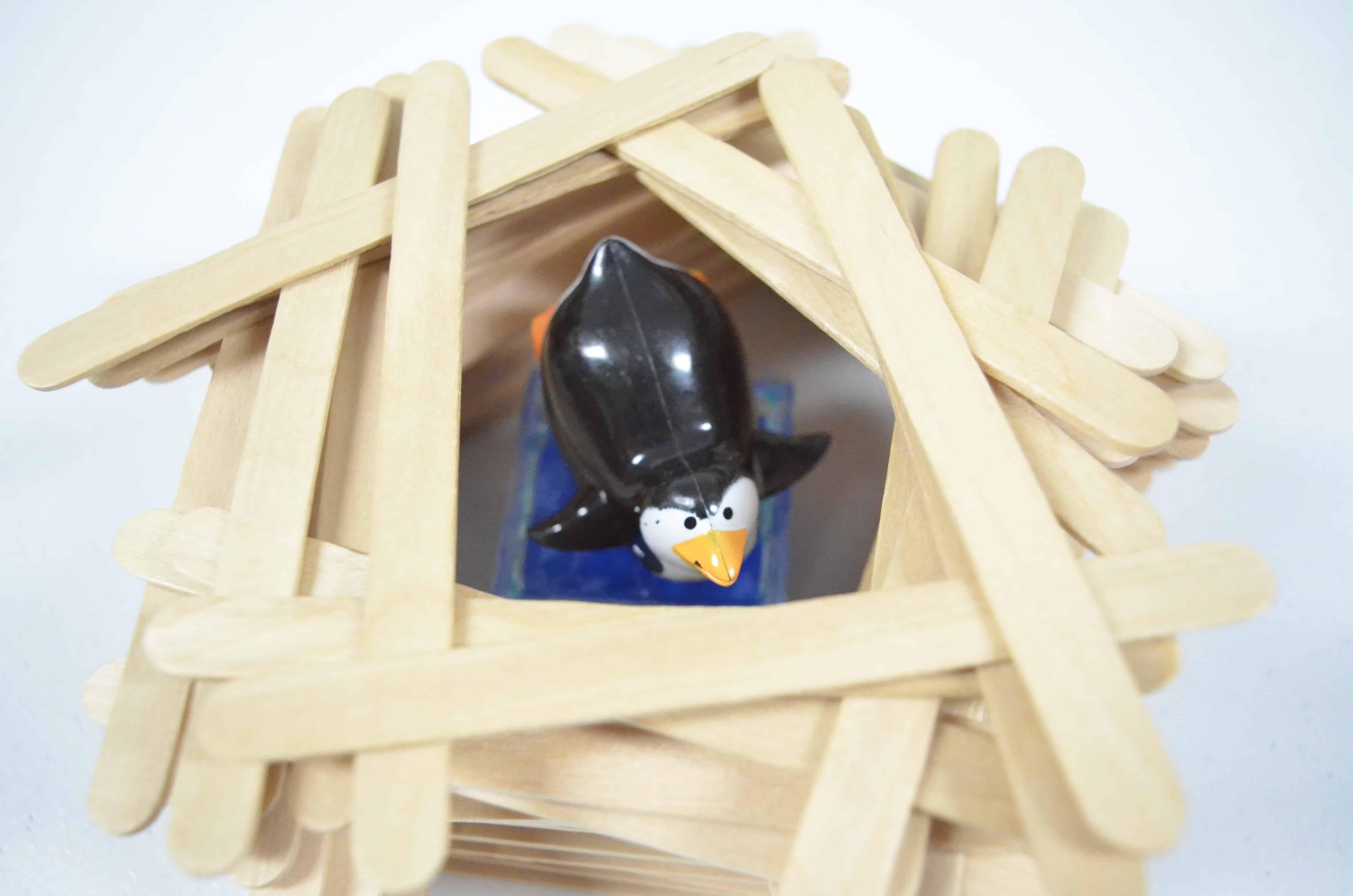 penguin in craft stick fort