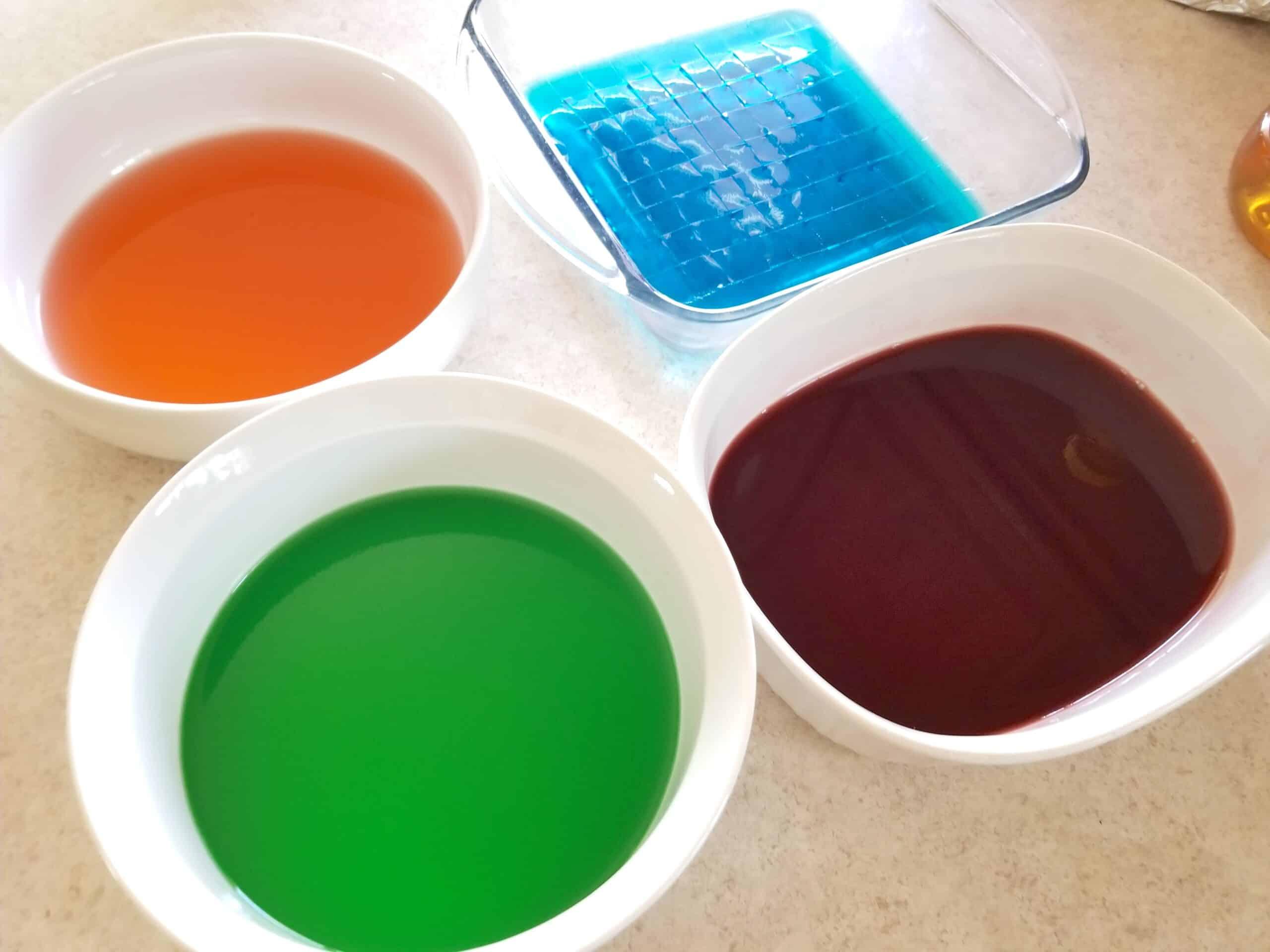 colorful jello dishes