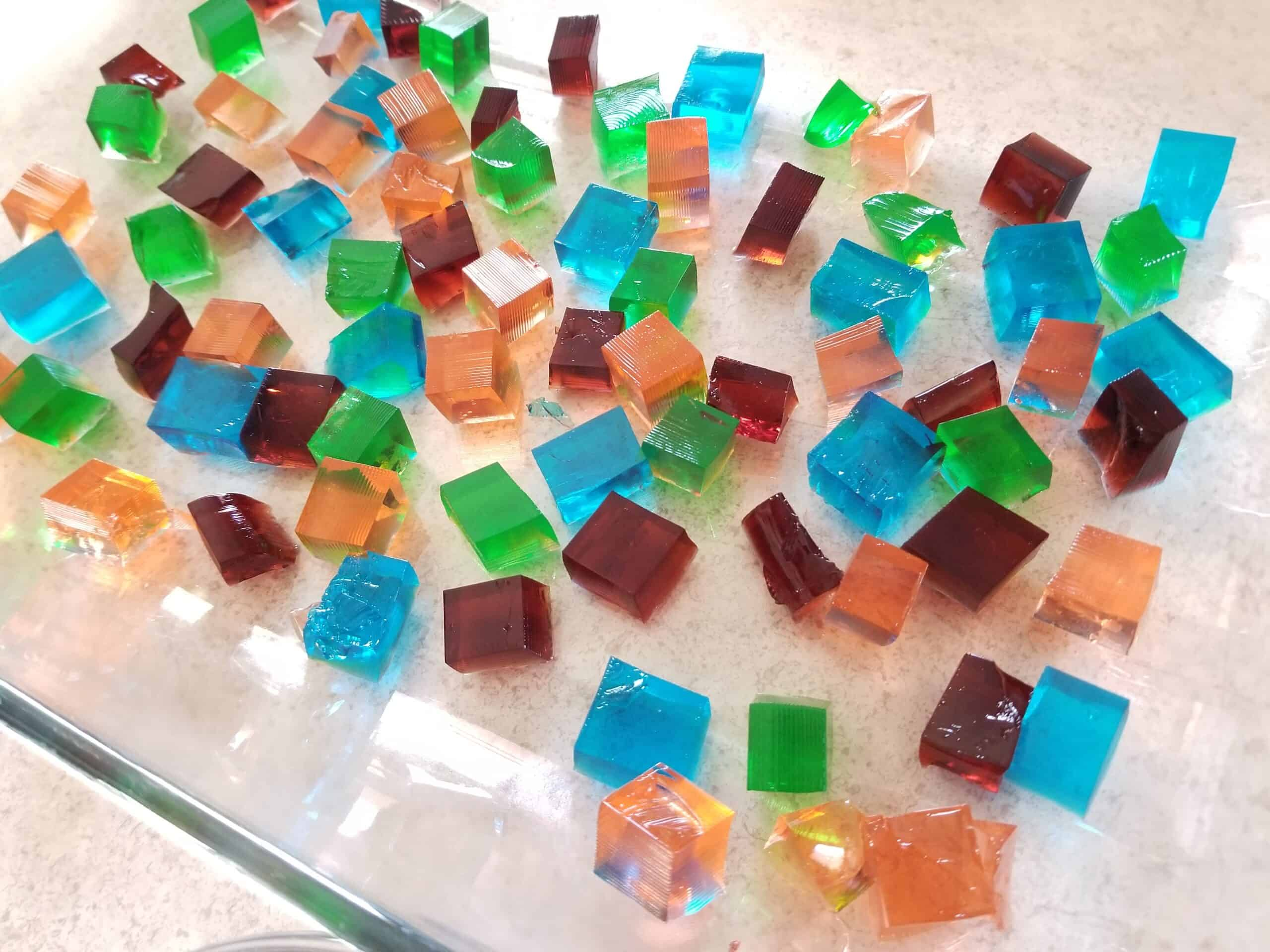 cubes of colored jello