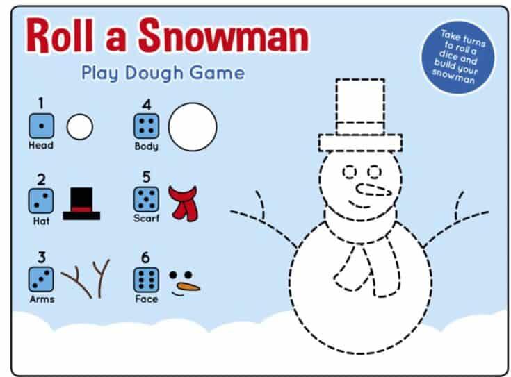 Winter Roll a Snowman Printable Play Dough Mat Game