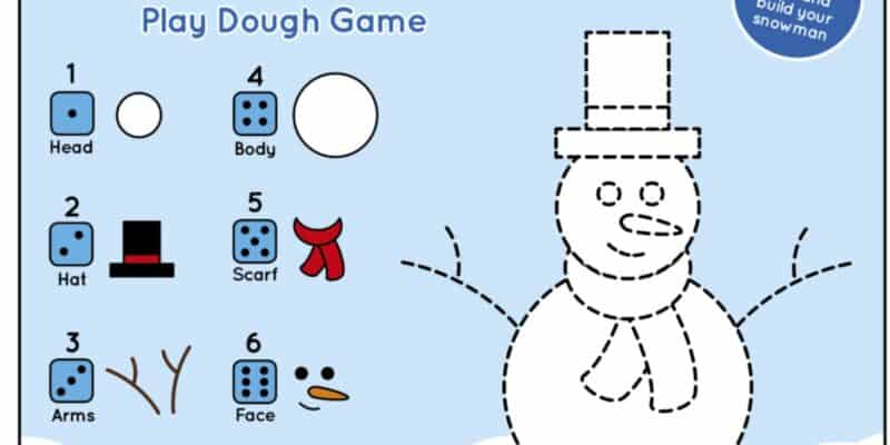 printable snowman play dough mat winter activity for kids