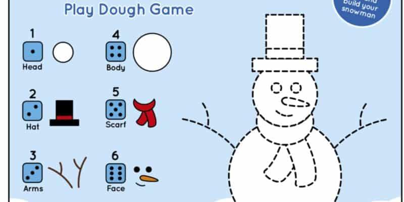 printable snowman play dough mat winter activity for kids