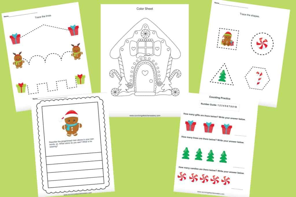 gingerbread printable activities for kids